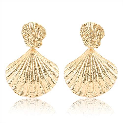 - NLCAC Sea Shell Earrings Statement Gold Metal Mermaid Seashell Drop Earrings Beach Jewlery (Gold)