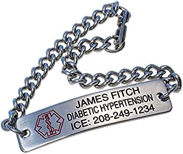 Personalized Medical Alert ID Bracelet - Free Custom Engraving - Hypo-allergenic Stainless Steel - Classic Design, 7 inch Bracelet with Engraving on The Front, Lobster Clasp