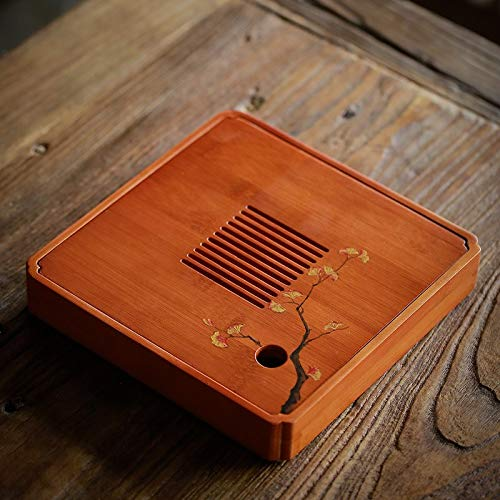Wood Shelf Tea Trays - Natural Bamboo Tea Trays Handpainted Tea Table Chinese kung fu Tea Accessories - by GTIN - 1 PCs