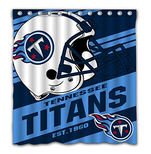 Potteroy Tennessee Titans Team Stripe Design Shower Curtain Waterproof Polyester Fabric 66x72 Inches