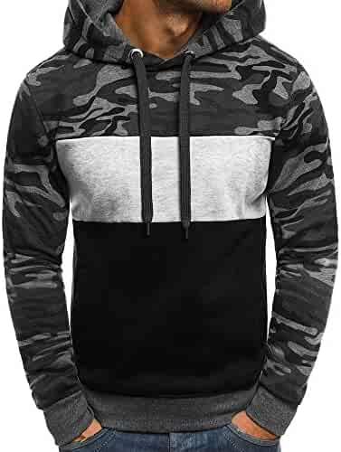 203e61cb4 Photno Mens Sweatshirt, Long Sleeve Camouflage Hoodie Hooded Pullover  Outwear Plus Size