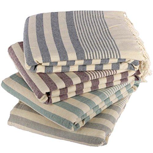 Clotho Towels Turkish Bath and Beach Towel Set of 4 Oversized Terry Peshtemal ()