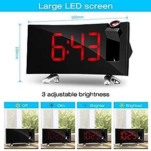 SKM Reloj Despertador de Proyección Digital Radio FM Reloj de Viaje Reloj de Cabecera Proyector Giratorio Alarma Doble Función de Despertador (Rojo) 5