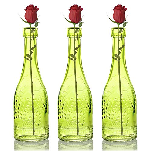 "Quasimoon 3 Pack 6.6"" Stella Green Vintage Glass Bottle Cork Stopper - DIY Wedding Flower Vase, Antique Glass Bottle & Bud Vase Wedding Centerpiece PaperLanternStore.com from Quasimoon"