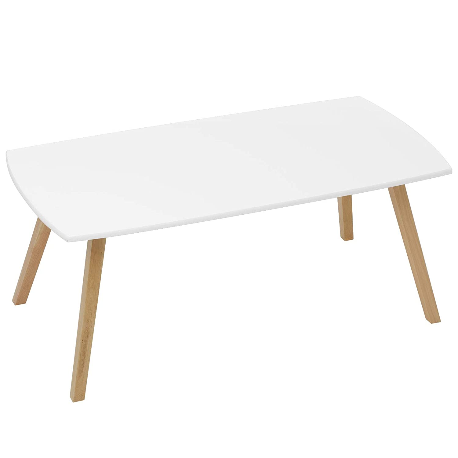 "SONGMICS Coffee/Cocktail Table with Solid Rubber Wood Legs, Minimalism, 43.3"" L x 21.7"" W x 17.7"" H, White, ULCT90WT"
