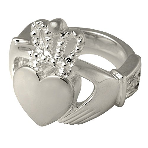 Memorial Gallery 2015WG-11 Claddagh Ring 14K Solid White Gold Cremation Pet Jewelry, Size 11