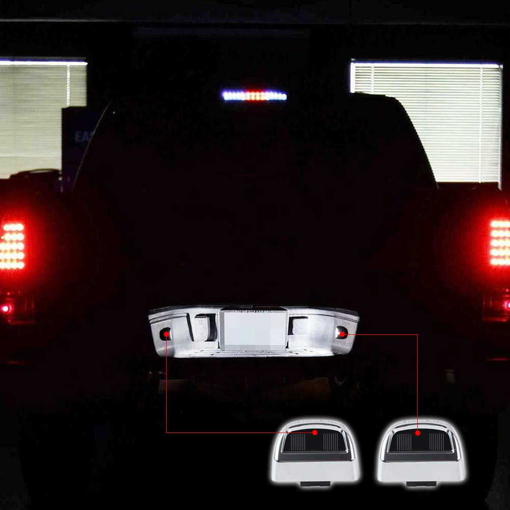 Gempro 2Pcs Chrome License Plate Light Tag Lamp Housing Assembly Compatible with Chevy Silverado GMC Sierra 1500 2500HD 3500HD Cadillac Avalanche Suburban Escalade Tahoe