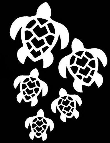 Sea Turtles Decal Vinyl Sticker|Cars Trucks Vans Walls Laptop| White |5.5 x 4 in|LLI279 ()