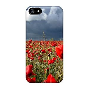 Durable Defender Case For Iphone 5/5s Tpu Cover(poppy Field)