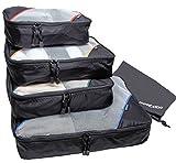 Packing Cubes by Motodori - Value Travel Organizers - 4pc Set + Shoe Bag + Extra Zipper Pulls