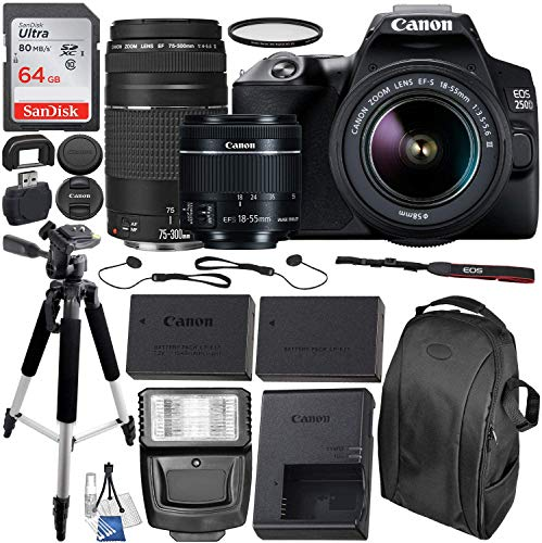 Canon EOS 250D (Rebel SL3) DSLR Camera with 18-55mm & 75-300mm Canon Lenses & Essential Accessory Bundle – Includes…