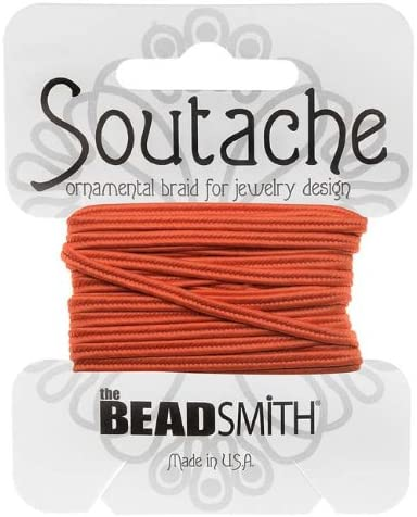 BeadSmith Soutache コード 3mm幅 サフランオレンジ 3ヤード