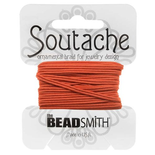 BeadSmith Soutache Braided Cord 3mm Wide - Saffron Orange (3 Yards) ST1270-3-R