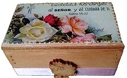 Caja decorada con Promesa Bíblica pintado a mano, regalos cristianos, promesas cristianas, caja