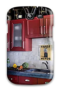 New Cute Funny Contemporary Kitchen With Concrete Counter Red Cabinets Amp Marble Tile Backsplash Case Cover/ Galaxy S3 Case Cover