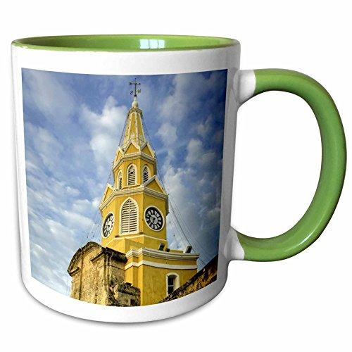 3dRose Danita Delimont - Clock Tower - Venerable clock tower, Ciudad Vieja, Cartagena, Colombia. - 11oz Two-Tone Green Mug - Outlets Las Viejas