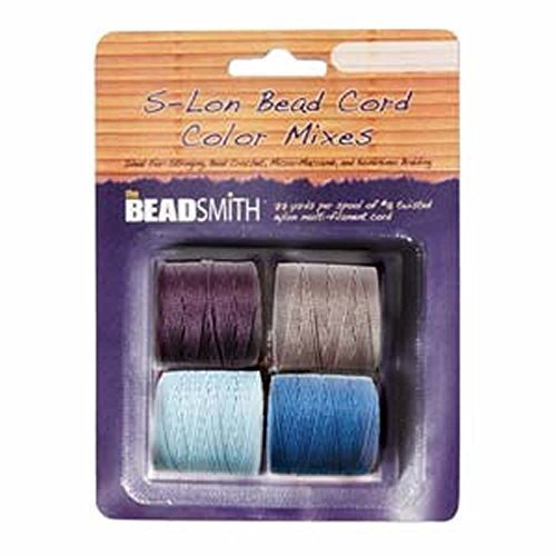 (4 Spools Super-lon #18 Cord Ideal for Stringing Beading Crochet and Micro-macram Jewelry Compatible with Kumihimo Projects S-lon Serenity Mix)
