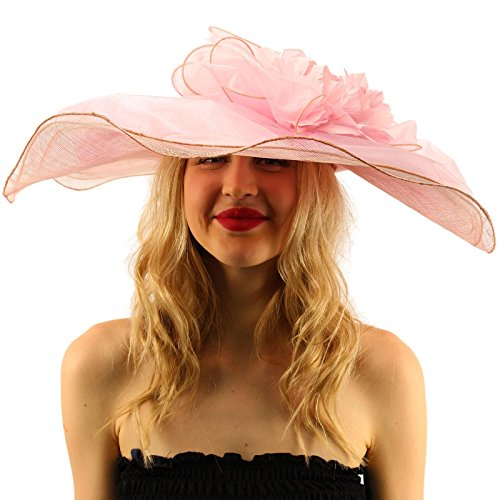 """SK Hat shop Victorian Layered Sinamay Floral Feathers Derby Floppy Wide 7""""+ Dress Hat"""