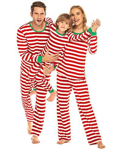 Ekouaer Christmas Family Matching Pajamas Set for Girls/Boys Long Sleeve Striped PJS Set Kids90-2 Years (Christmas Personalized Kids Pajamas)