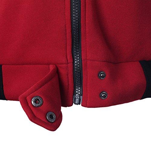 Casuale Donna Donne Battercake Autunno Sportivo Outerwear Vintage Sciolto Giacche Rosso Casual A Cappuccio Lunga Eleganti Fashion Manica Invernali Giaccone Chiusura Felpa Cerniera Hoodie Con 64pqpwOt