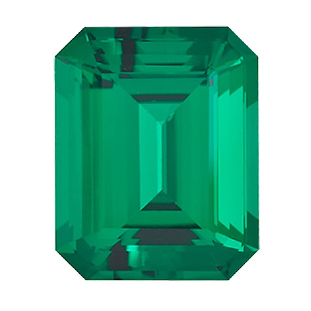 4.54-6.12 Cts of 12x10 mm AAA Emerald-Cut Russian Lab Created Emerald (1 pc) Loose Gemstone