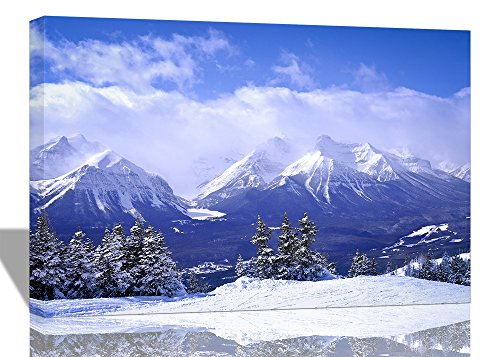 [Purple Verbena Art 12''x16'' One Piece Blue Sky with White Snow Mountain View Picture Photo Prints on Canvas Wall Painting, High Giclee Modern Home Artwork Decor for Office House, Stretched and Framed] (Snow Family Canvas Art)