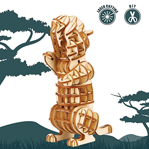 Rolife 3D Wooden Puzzle Wild Animal Toy-DIY Tiny Model Kit-Animal Action Figure-Assembly Jigsaw Puzzle-Home Decoration-Unique Birthday Easter Day Gift for Nephew/Son/Grandson/Boys/Girls(Marmot)