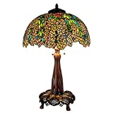 Cloud Mountain 37″ Hight Luxury Tiffany Style Floral Leaf Table Lamp with Brass Base