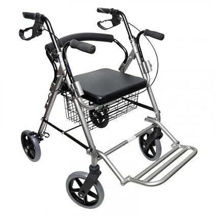 Andador multifunción para ancianos con 4 ruedas, cesta y reposapiés de Ortaid