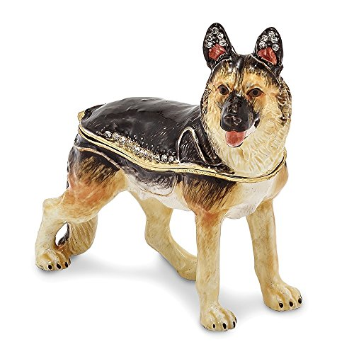 Jere Luxury Giftware Bejeweled Zeus German Shepherd, Pewter with Enamel Collectible Trinket Box with Matching Pendant -
