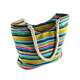 Medium Sized Boho Beach Bag for Women - Bohemian Tote Bag with Rope Handles and Inner Zipper Pocket from Moskus Gear