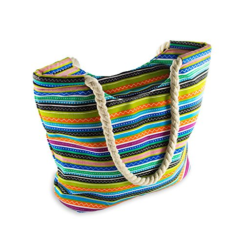 Hippie Style Beach Bag With Inner Zipper Pocket and An Amazing Bonus Item From Moskus Gear