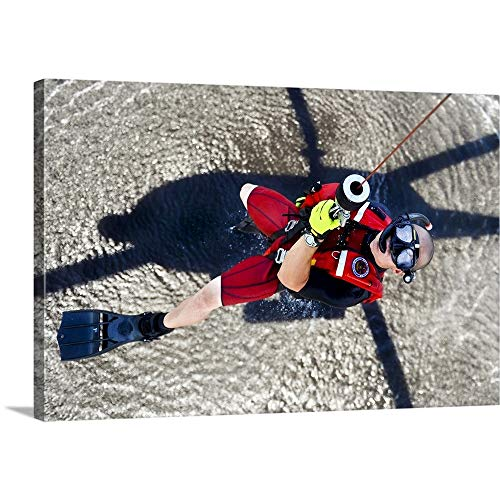 Stocktrek Images Premium Thick Wrap Canvas Wall Art Print Entitled A Rescue Swimmer Gets Hoisted Into An Mh 60 Jayhawk Helicopter 48 X32