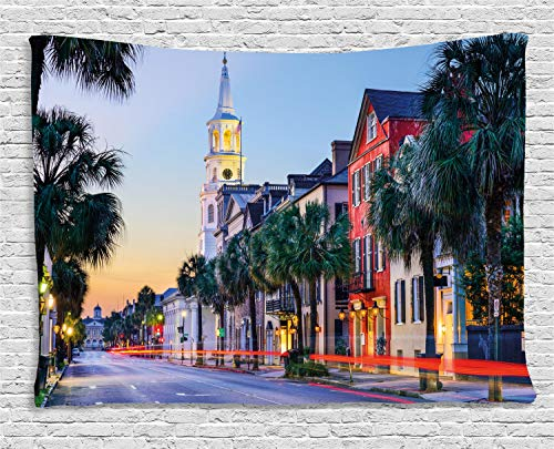 Ambesonne Charleston Tapestry, USA Cityscape in Historic French Quarter at Sundown Southern Tourist Attraction, Wall Hanging for Bedroom Living Room Dorm, 80