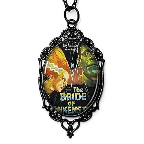 Bride of Frankenstein Movie Cameo Necklace in Black, Domed Glass Tile (Frankenstein Cabochon)