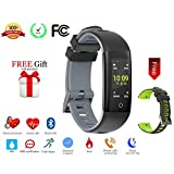 Today 50% Off! Fitness Tracker Color Display colorful UI touch screen with Heart Rate Monitor Blood Pressure Sleep Monitor IP67 Waterproof Bracelet Wristband for iOS/Android (grey+black)