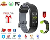 Today 50% Off! Fitness Tracker Color Display colorful UI touch screen with Heart Rate Monitor Blood Pressure Sleep Monitor IP67 Waterproof Bracelet Wristband for iOS Android (grey+black)