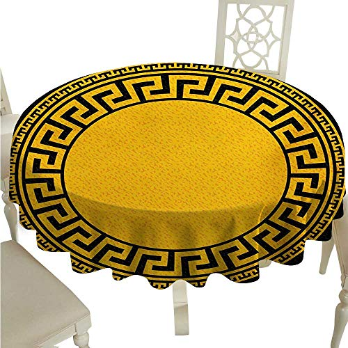 (Greek Key Round Polyester Tablecloth Sun Inspired Big Circle with Antique Fret and Triangular Ornaments Washable Polyester - Great for Buffet Table, Parties, Holiday Dinner, Wedding & More D36 Charco)