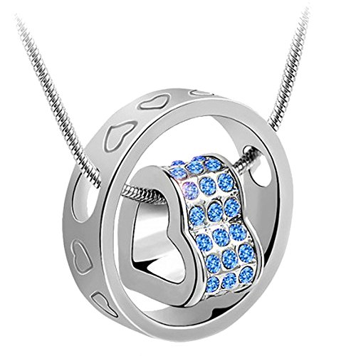 Engraved Metal Heart - KORPIKUS Silver Colour Metal Jewelled Crystal Hearts Engraved Ring Necklace In Organza Gift Bag (LIGHT BLUE GEMS)