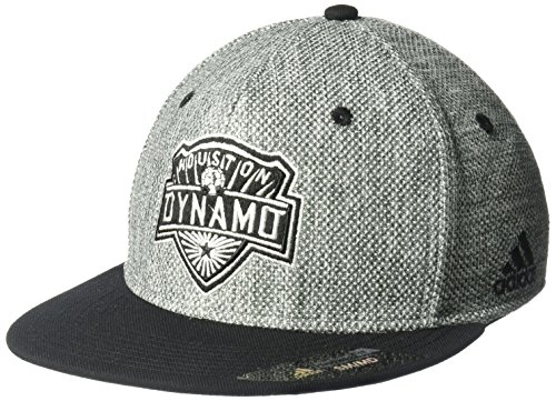 - adidas MLS Houston Dynamo Men's Heathered Gray Fabric Flat Visor Flex Hat, Small/Medium, Gray