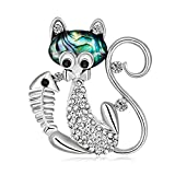 Finance Plan Korean Style Rhinestone Fish Cat Brooch Pin Dress Suit Wedding Party Accessory Fish Cat