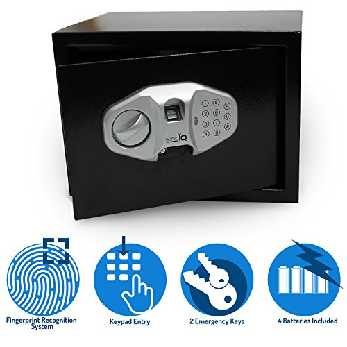 Biometric Safe Lock Box – Wall Small Safe Opens by Electronic Fingerprint Scanning, Keys, Digital Code - Security for Jewelry Cash Money Documents For Home Office Hotel ()