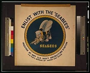 Photo: Enlist with Seabees,recruiting,enlistment,machine gun,hammer,World War,1942 by Historic Photographs, LLC
