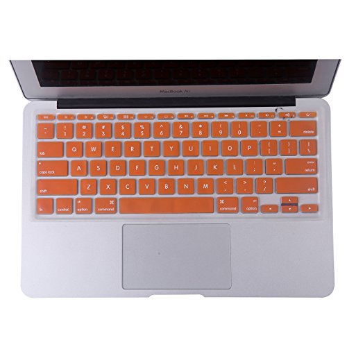 HDE Protective Silicone Keyboard Cover Skin for Macbook Air 11.6 (Model 1370 and A1465), Orange
