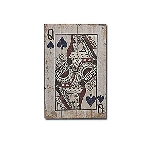 NEWNESS WORLD Retro Wood Hanging Sign Wood Plaque Playing Cards Wall Art Hanging Decoration,16 by 24 inch Queen of Spade