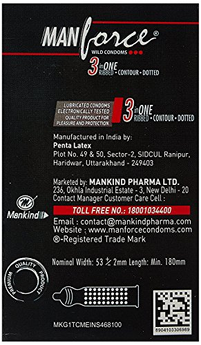 PleasureWorld - Manforce 3 in 1 Wild Ribbed Contour Dotted Condoms - Strawberry - 10s