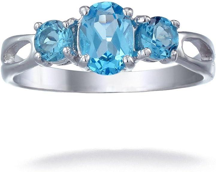 Natural blue topaz ring Stones shape octagone metal starling silver 92.5 Stones size 10\u00d714 mm