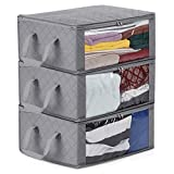 Foldable Storage Bag, Magicfly Under Bed Large Clear Window and Carry Handles, Clothing Organizer Closet, Blankets, Underbed, and More, Set of 3, Gray