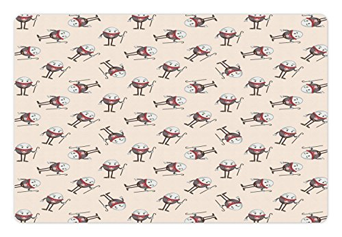 Lunarable Alice in Wonderland Pet Mat for Food and Water, Humpty Dumpty Egg Dancing Character in Fairytale Fantasy Story, Rectangle Non-Slip Rubber Mat for Dogs and Cats, Pink Brown Red