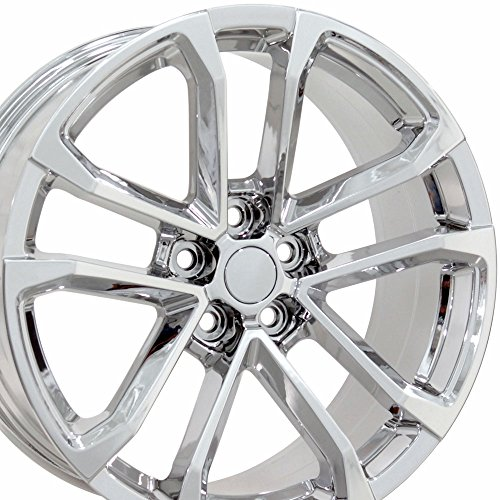 Staggered Wheels Rims (20x9.5/20x8.5 Wheels Fit Chevy Camaro - ZL1 Style Chrome Rims, Hollander 5547 - Staggered SET)
